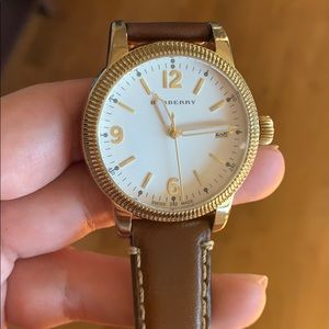 Burberry watch with brown leather strap